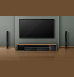 home theater with tv screen and speakers vector image