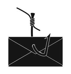 Hooked e-mail icon in black style isolated on vector image