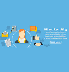 Hr and recruiting banner horizontal concept vector