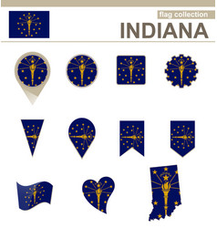 Indiana flag collection vector