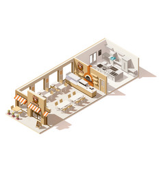 Isometric low poly pizzeria vector