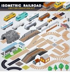 Isometric railroad train detailed 3d vector