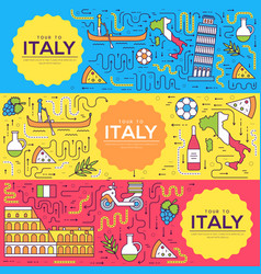 Italy brochure cards thin line set country vector