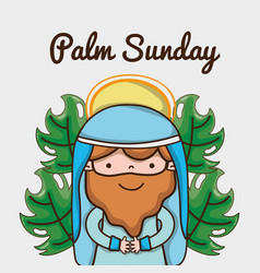 Jesus with palm branches to catholic religion vector