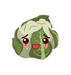 kawaii cauliflower vegetable fresh food image vector image