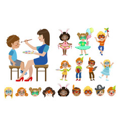 kids with painted faces set vector image