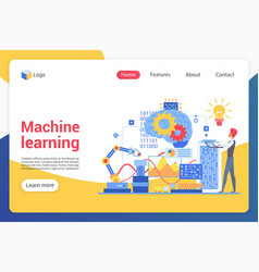 machine learning landing page template vector image
