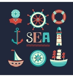 Marine set icons vector
