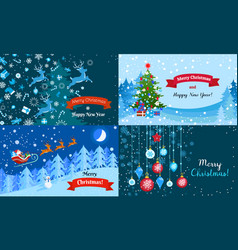 Merry winter christmas banner set flat style vector