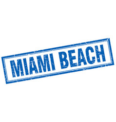 Miami beach blue square grunge stamp on white vector