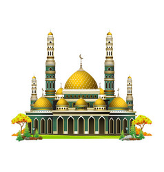 Mosque islamic cartoon beautiful vector