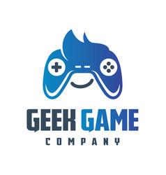 online geek game logo design vector image