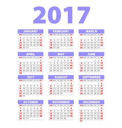 Paper Style 2017 Full Calendar Template - vector image
