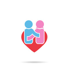 people happiness symbol in shape heart men and vector image
