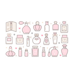 Perfume bottles horizontal poster with pink line vector