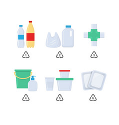 Plastic codes in recycle reuse reduce concept vector
