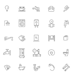 Plumbing outline icons set vector