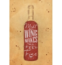 Poster meat and wine chalk vector image