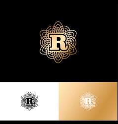 r gold letter monogram gold circle lace ornament vector image