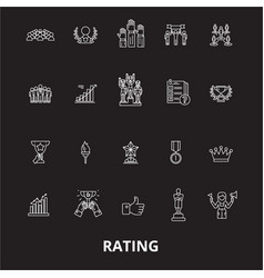 Ratings editable line icons set on black vector