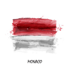 realistic watercolor painting flag of monaco vector image