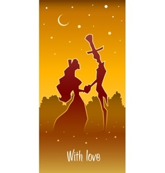 retro loving couple hold heart vector image