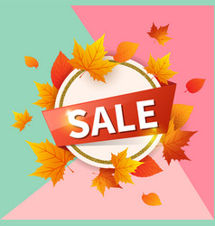round banner for seasonal fall sale vector image