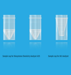 Sample cup for biosystems chemistry vector