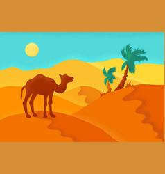 Sand desert with camel vector