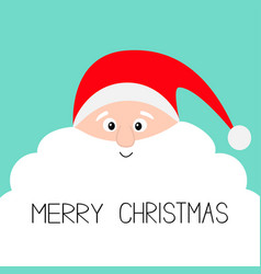santa claus face with big white beard merry vector image