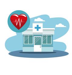 Sceen facade hospital and heartbeat icon vector