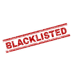 Scratched textured blacklisted stamp seal vector
