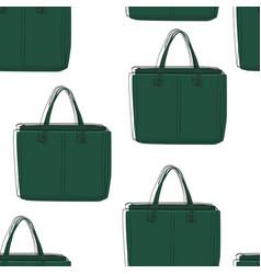 Seamless green bags pattern vector