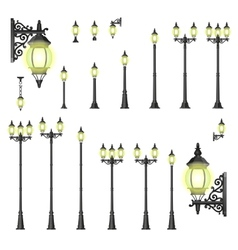 set of street lanterns - isolated vector image
