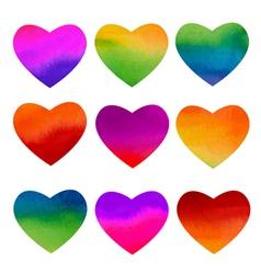 Set of watercolor rainbow hearts design vector image