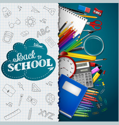 Shcool whiteboard background with school supplies vector