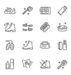 Shoe cleaning and care products thin line icons vector