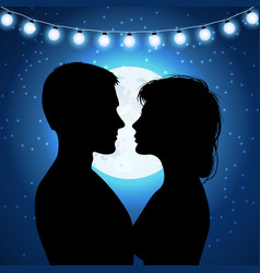 silhouettes of couple on the moonlight background vector image