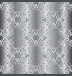 Silver embroidery floral 3d seamless pattern vector