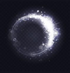 silver luminous spark ring light frame effect vector image
