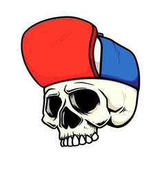 skull in baseball cap in monochrome style design vector image