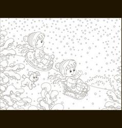 Small children sledding down a snow hill vector