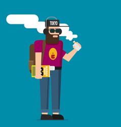 smiling standing bearded hipster man holding vape vector image