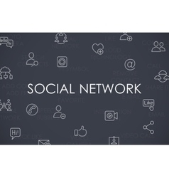 Social Network Thin Line Icons vector