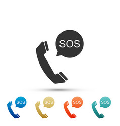 sos call icon isolated on white background vector image