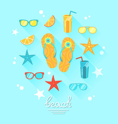summer theme with food and objects vector image