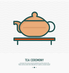 teapot for tea ceremony thin line icon vector image