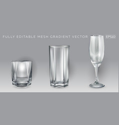Three empty glasses for different bar drinks vector