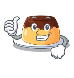 Thumbs up chocolate mousse with mint in character vector