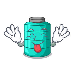 Tongue out cartoon water tank for in agriculture vector